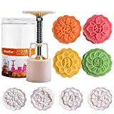 Benran Traditional Mid-autumn Festival DIY Decoration Hand Press Moon Cake Cutter Mold Set (Hua Hao Yue Yuan Flower Stamp of 4 50g)