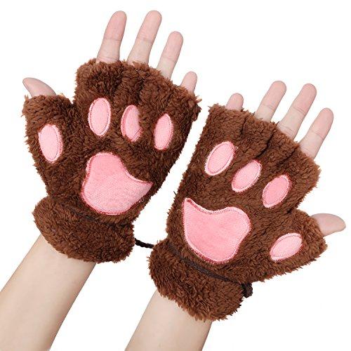 Odema Womens Bear Plush Cat Paw Claw Glove Soft Winter Fingerless Mitten Gloves -