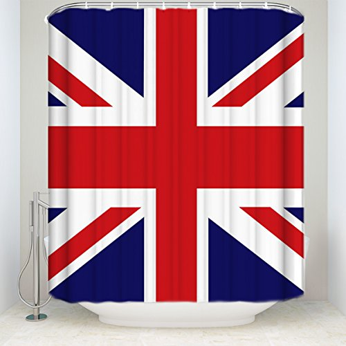 (KAROLA Bathroom Shower Curtain, Waterproof Polyester Fabric Modern The Union Jack Flag Fabric Bath Decor Shower Curtains Set with Hooks 72