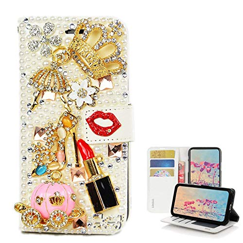Spritech Galaxy J7 2018 Case Galaxy J7 Aero/J7 Top/J7 Refine/J7 Eon/J7 Star Case, [Card Slot] Design Floral 3D Handmade Bling Crystal Diamonds Butterfly with Dust Plug Folio Stand PU Leather Wallet