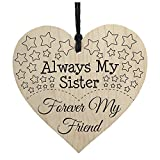 TOOGOO(R) Always My Sister Forever My Friend Wooden Hanging Heart Best Sisters Plaque Gift