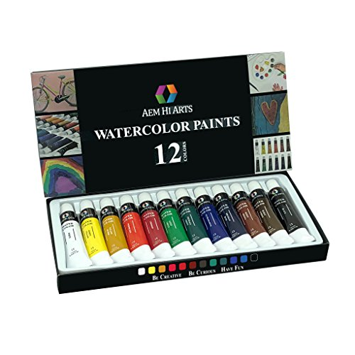 Watercolor Paint by AEM Hi Arts - 12 Tube Watercolour Set Includes Colorful Water Color Paints - Portable, Small and Washable, Great for Kids and Professional Artists
