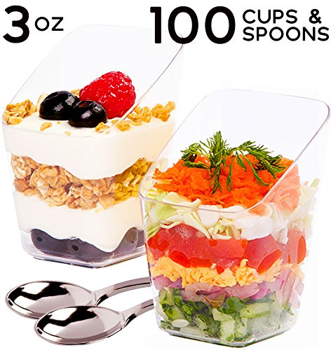 SimpleHomeCo. 3 oz Dessert Cups with Mini Spoons [100 Sets] - Premium Quality Clear Plastic Appetizer Bowls, Small Tasting & Fruit Parfait Glasses, Shooters, Tumblers, Disposable Catering Supplies Disposable Catering Supplies