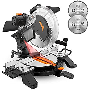 12 inch double bevel sliding compound miter saw with laser guide tacklife 15 amp 12 inch single bevel compound miter saw with laser guide multipurpose cutting 13ft4m cord with plug pms02x keyboard keysfo Choice Image