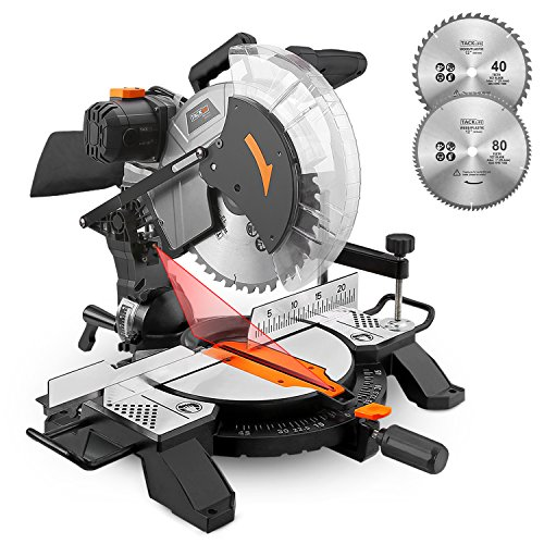 TACKLIFE Miter Saw, 15Amp 12inch Single Bevel Miter Saw with Laser Guide, Adjustable Cutting Angle, 2 Blades(40T & 80T), Clamping Device - PMS02X