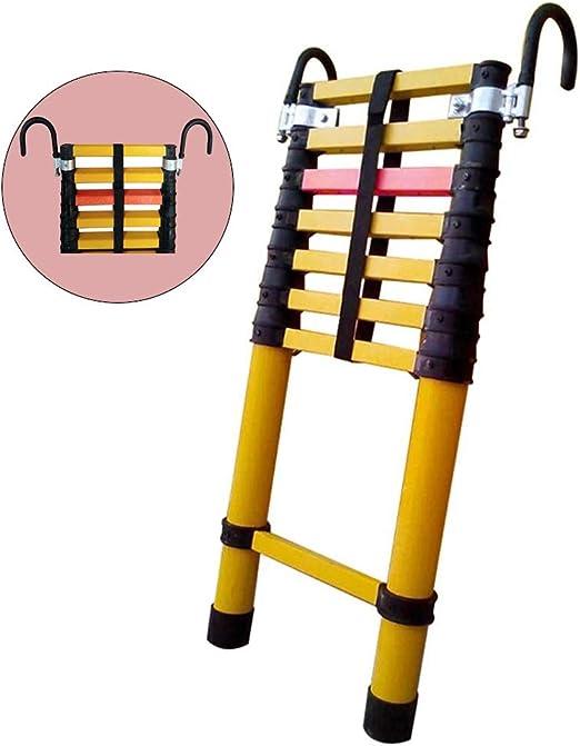 Escalera extensible Escalera telescópica Escaleras extensibles de fibra de vidrio con ganchos, Escalera telescópica plegable tipo loft, Mantenimiento de edificios Bricolaje multiusos, carga 150 kg: Amazon.es: Hogar