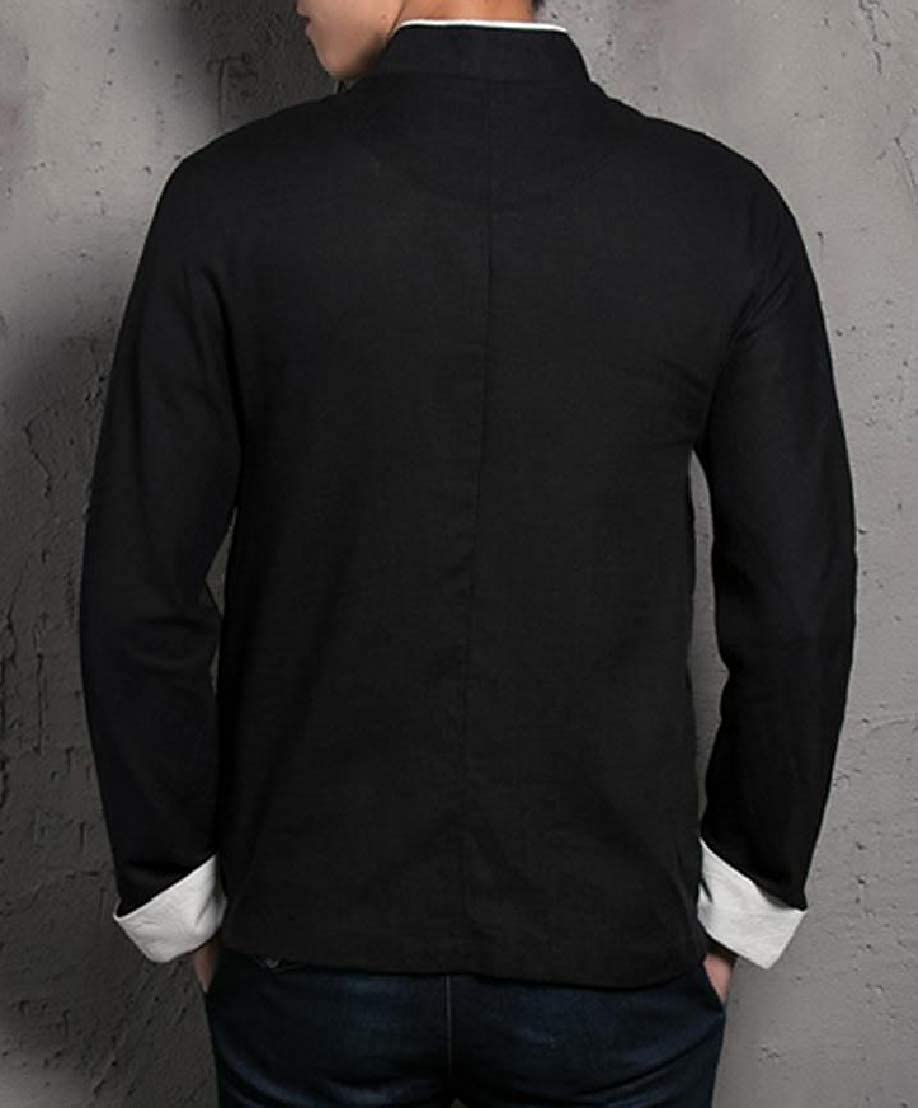 Wofupowga Mens Stand Collar Casual Chinese Style Smocked Long Sleeve Button Front Shirts