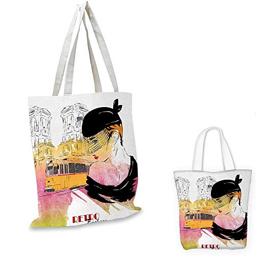 Girls thin shopping bag Lady with Vintage Hat Posing in front of Tramway Sketch Retro Romantic Art canvas tote bagOrange Pink Black. 12