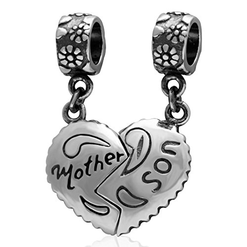 Mother And Son Charm 925 Sterling Silver Charm Love Charm Heart Charm Birthday Charm Family Charm Fit for Pandora Charms Bracelets or Pendant (Birthday Charms Heart)