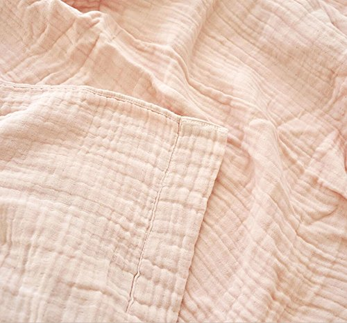 LAGHCAT Boys & Girls Cotton Muslin Quilt Comforter Bedding Coverlet, 4 Layers 100% Cotton Gauze Throw Blanket, Lightweight Bed Blankets for Adult/Kid's Bedroom (Pink, 63''x87'') by LAGHCAT (Image #3)