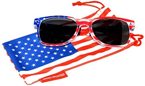 Classic American Patriot Sunglasses USA American Flag Frame Smoke Lens OWL