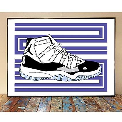 separation shoes 3899b 94344 Amazon.com  Air Jordan 11 Concord Sneaker Art Print  Home   Kitchen