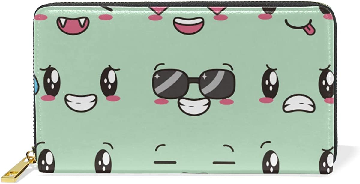 Cartoon Smile Face Wallet Real Leather Zipper Coin Phone Purse Clutch for Women