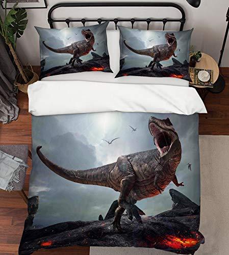 AJ WALLPAPER 3D Era of Dinosaurs Tyrannosaurus Rex 456 Bedding Pillowcases Quilt Duvet Cover Set Single Queen King   3D Photo Bedding, US Amy -