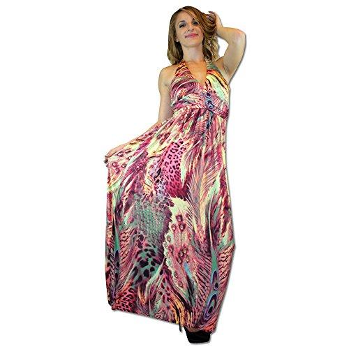 Women Fashionable Liesure Mixed Animal Print Halter Top Boho Resort Dresses (Halter Print Animal Dress)