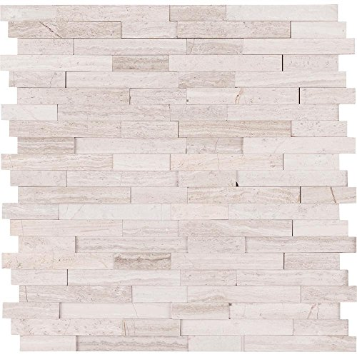 Vogue Peel & Stick Light Athens Gray Honed Brick Pattern Mosaics for Kitchen Backsplashes, Wall Fireplace Tile (1) Stone Tile Fireplace