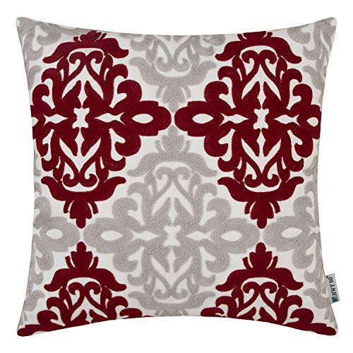 Accents Burgundy - HWY 50 Burgundy Decorative Embroidered Throw Pillows Covers Cushion Cases for Couch Sofa Bed Wine Red Grey Accent Geometric Floral 18x18 inch 1 Piece