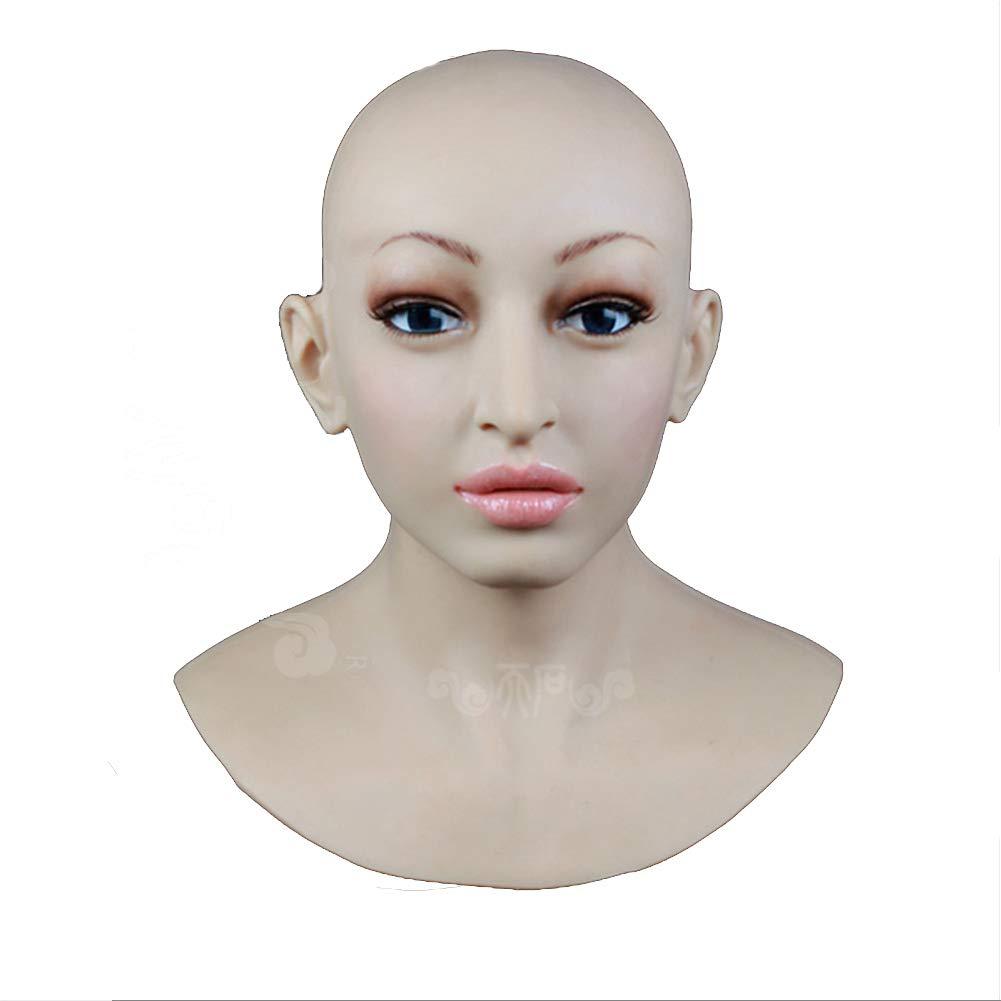 BTTBS-MJ Soft Silicone Realistic Lady Head Mask Handmade Face for Crossdresser Transgender Cosplay Halloween Masquerade COS Transvestite