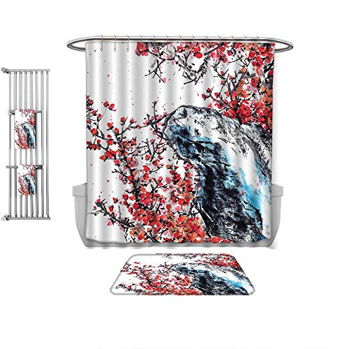 QINYAN-Home Pattern Printing Suit Traditional House Decor Ethnic Sakura Blossoms with Bird Figure Chinese Culture Hand Drawn Image Multi, Bath Towels Sets-Multiple Sizes