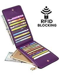 Cartera de cuero genuino, con bloqueo RFID, organizador de tarjetas, con bolsillo con cierre, para mujer