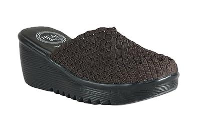 Amazoncom Heal Usa Womens Angel Slip On Wedge Mules Brand Black
