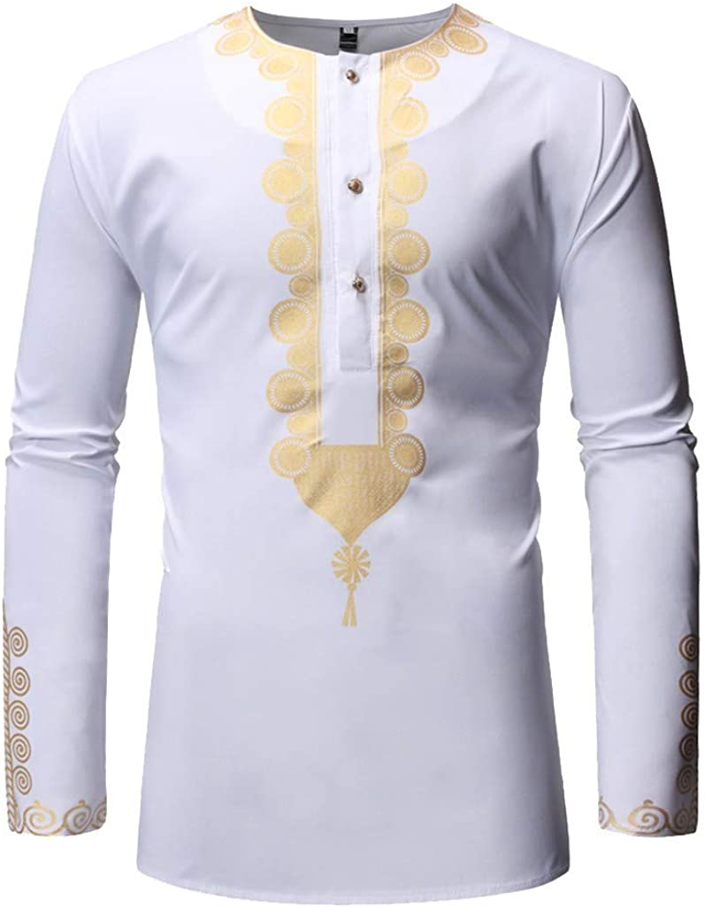 iLPM5 - Camiseta de Manga Larga para Hombre con Estampado Africano 2019, para otoño, Invierno, Elegante, a la Moda, Informal Blanco XXL: Amazon.es: Ropa y accesorios