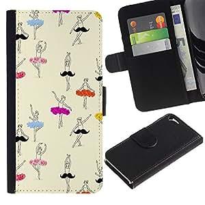 Paccase / Billetera de Cuero Caso del tirón Titular de la tarjeta Carcasa Funda para - dancer ballet ballerina drawing art - Apple Iphone 5 / 5S