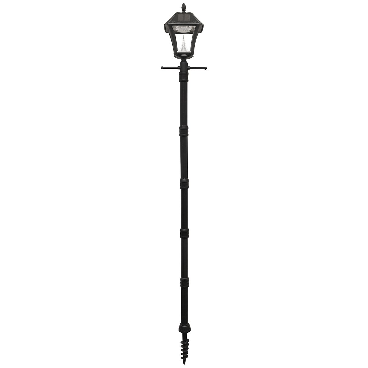Gama Sonic GS-105PLSG Baytown II Resin Dual Led Color Solar Powered Lamp Post with EZ-Anchor and Planter Base, Black, Large