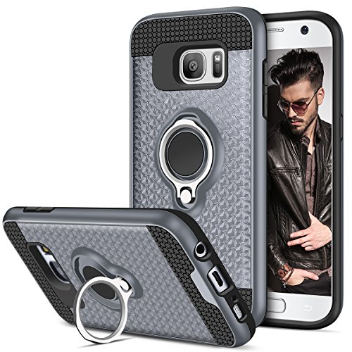 Vofolen Case for Galaxy S7 Case Ring Holder Kickstand Rotational Stand Clip Holster Hybrid Shield Heavy Duty Armor Dual Layer Protective Hard Shell TPU Bumper Cover for Samsung Galaxy S7 (Gray) (Hybrid Mobile)