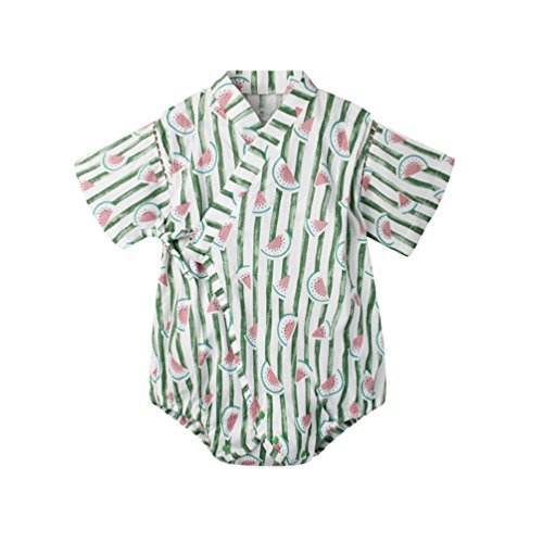 - Baby Boy Girl Clothes Organic Cotton Kimono Short Sleeve Romper Pajamas with Cute Green Watermelon