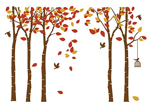 LUCKKYY Large Five Tree Wall Decal Tree Wall Sticker Removable Vinyl Mural Art Wall Stickers Kids Room Nursery Bedroom Living Room Decoration ()