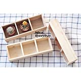 HappyLand Wood 3 Sub Table Tray Tableware Box Storage Tray for small plant, collective doll, pretty gift