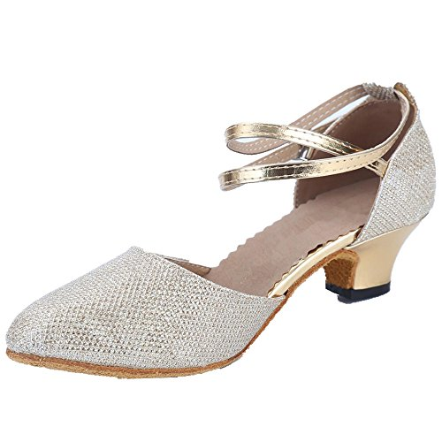 5 Kitten 5 Women's Rubber Heel Latin Heel Dance Ballroom Leather AYMYPL Sequined Pointed Golden Shoes Toe Sole nZxwqHHX6