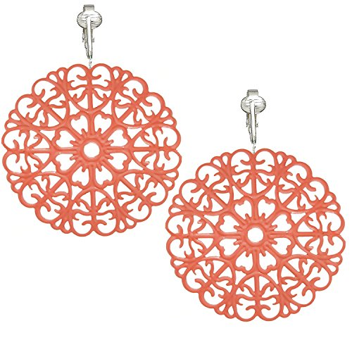 (Modern Victorian Filigree Clip On Earrings for Women, Handpainted Clip Earrings, Lightweight Trendy (Coral))