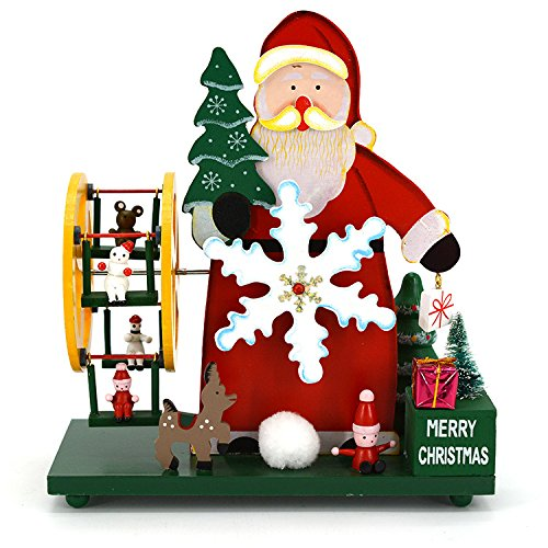 Music Santa Claus Box (Huhgue Best Gifts Wooden Ferris Wheel Santa Claus Music Box For Birthday Gift Home Desktop Decoration-Castle in the Sky)