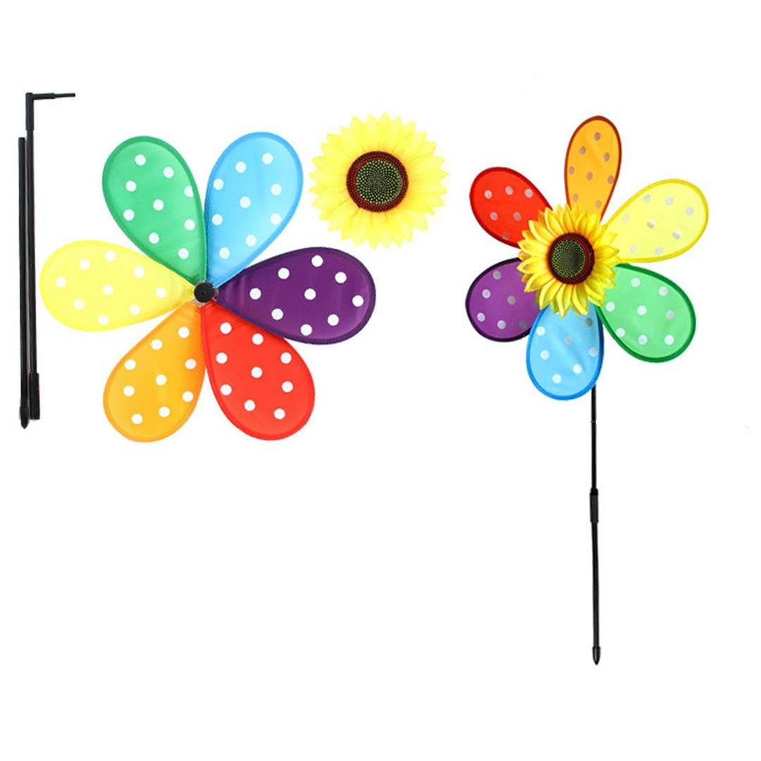 BrilliantDay 3 PCS Large Sunflower Windmill Wind Spinner Colourful Lawn Yard Garden Outdoor Decoration, 92CM Diametre