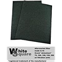 Oreck AirInstinct 75, 100, 108, 150, 200 Odor Absorber Carbon Pre-Filter 2 Pack by White Square