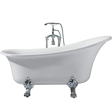 Laguna UB006-6327 Freestanding Acrylic Soaking Bathtub 63  x 27