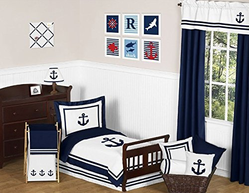 Sweet Jojo Navy Blue White Nautical Sail Boat Themed Boy Tod
