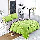 MIFE TEXTILE 100-Percent Microfiber Bedding Sets, Pure Color Duvet Cover Set, 4PCS (Queen, Green-Grey)