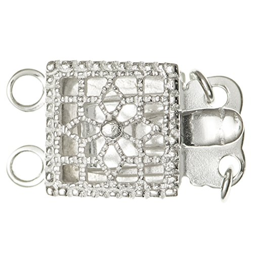 925 Sterling Silver Classic Square Flower Filigree 2-strand Pearl Box Clasp 15mm (Square Box Clasp)