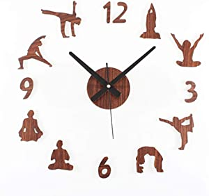 N /A Wall Clock Kitchen Creative DIY Wall Clock Modern Design Yoga Theme Clocks Living Room Acrylic Mirror Wall Watch 3D Stickers Home Decor Silent Suitable for Shop Kitchen
