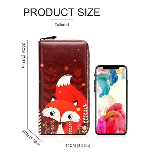 APHISONUK Purse 1346 Fox Designer Women's Cowhide Card Wallets Box red Fox Clutch Leather Painting 1346 Red Gift Zipper Holder rrfUZqv