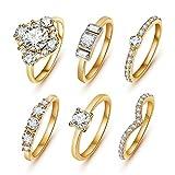 SunIfSnow Women One of Love Shape 6 piece/set Crystal Rings gold 8
