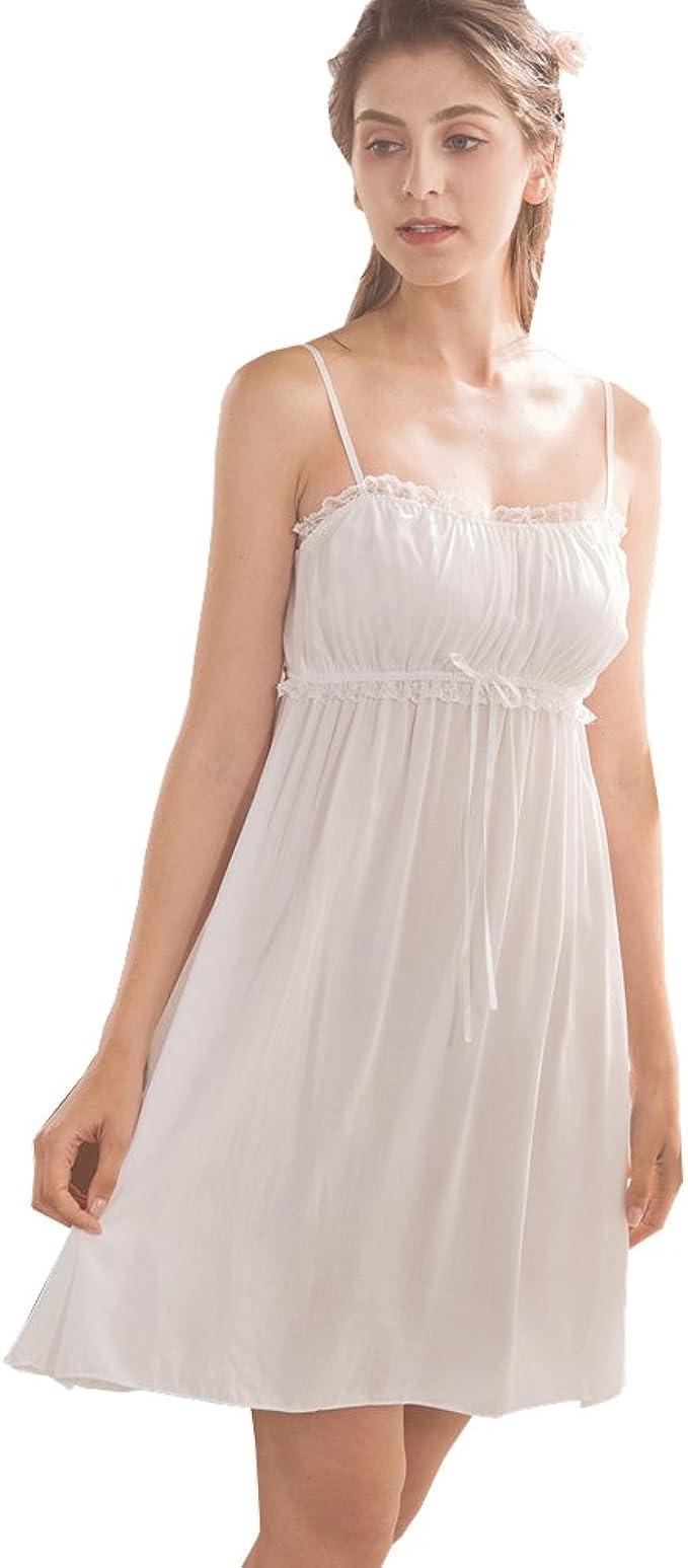 Vintage Inspired Slips Flaydigo Womens Sleepwear NightgownSpaghetti Strap Nightdress Cotton Sleeveless Victorian Nightshirt $18.88 AT vintagedancer.com