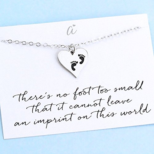 Child-Memorial-Necklace--Sterling-Silver--Heart-Charm-with-Baby-Footprints--Sympathy-Gift--Miscarriage-Miscarry-Grief--Mothers-Keepsake-Jewelry