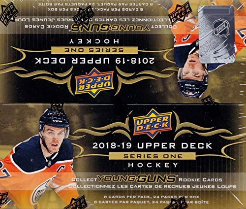 (2018 2019 Upper Deck NHL Hockey Series One Factory Sealed Retail Box of 24 Packs Including 192 Cards Total with Possible Young Gun Rookie and Game Used Jersey Cards)