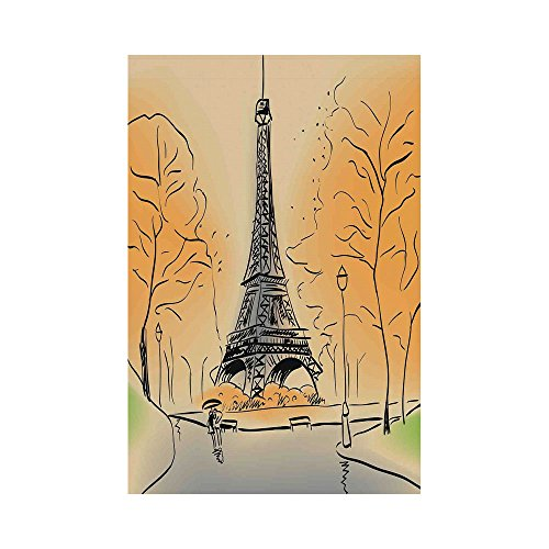 Polyester Garden Flag Outdoor Flag House Flag Banner,Paris City Decor,Paris Eiffel Tower with Autumn Leaves in Artistic Sketching Effect Holiday Landmark,for Wedding Anniversary Home Outdoor Garden D