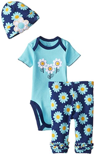 Gerber Baby-Girls Newborn 3 Piece Girl Sets Daisies Bodysuit Cap and Leggings, Teal, 3-6 Months