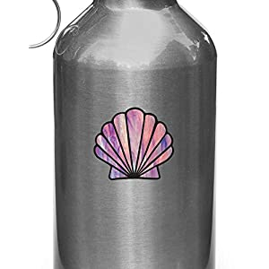 """Scallop Seashell - Stained Glass Style Vinyl Decal for Water Bottle 